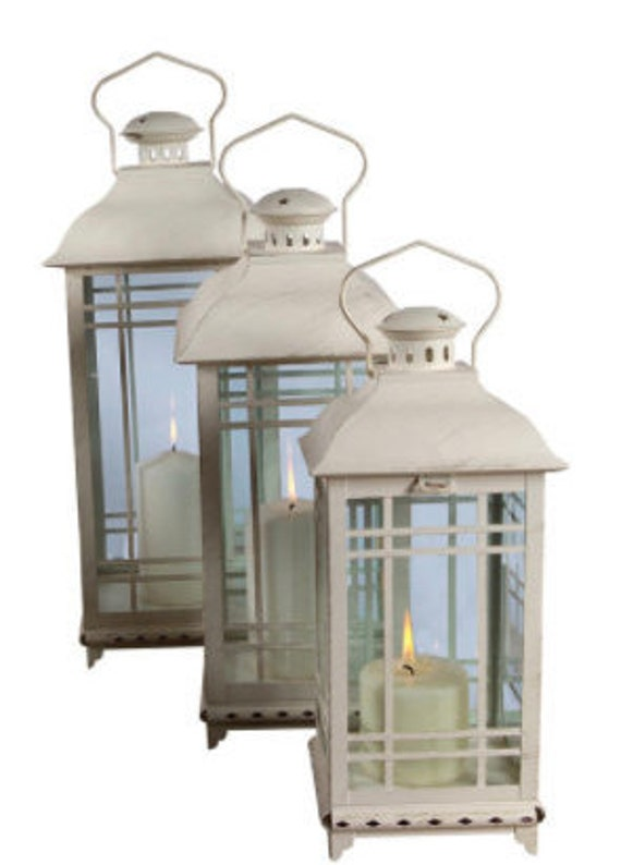 """Melrose Antique White Lantern (Set Of 3) 14""""H, 17""""H, 20""""H Metal And Glass- (Red Out OF Stock)"""