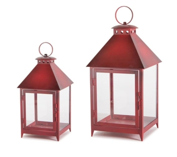 "Set Of 2 Red Metal Glass Iron Lanterns 11.75""H, 16""H Melrose International"