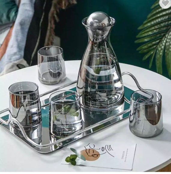 SliverGrey Glass High Borosilicate Nordic Style Carafe Set - A Pitcher, Lid, 4 Glasses. Decanter/Water Pitcher Set