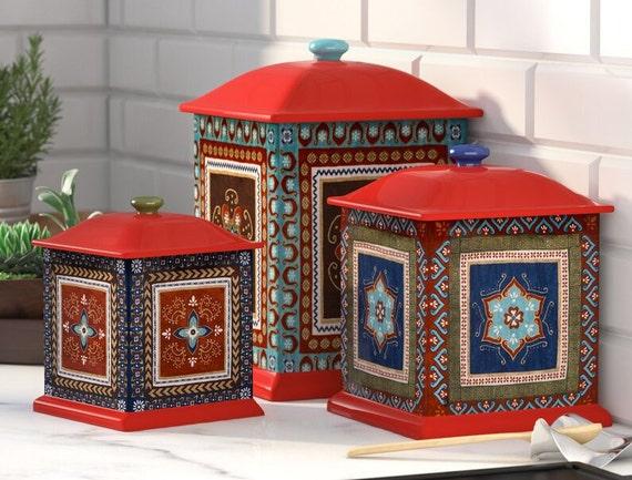Bohemian 3 Piece Ceramic Brimson Canister Set