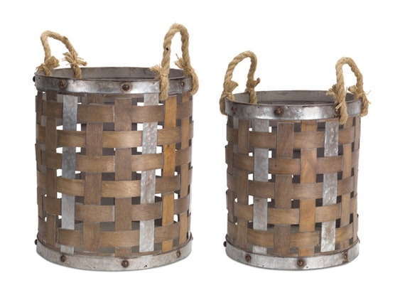 "Melrose Galvanized Metal Pail With Rope Handle Set Of 2-15.5""H, 18""H Wood & Metal"