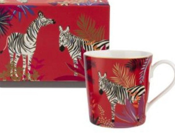 Sara Miller London for Portmeirion Chelsea Zebra Mug - Green 12 oz