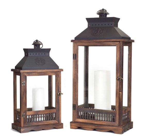 """Melrose Melrose Tall Lanterns Set of 2- Wood Metal Glass 21""""High, 27.5"""" All Year Round Item"""