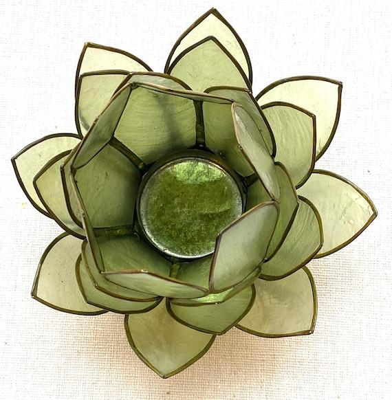 Capiz Shell  27 Petal Lotus Tea Light Holder Green