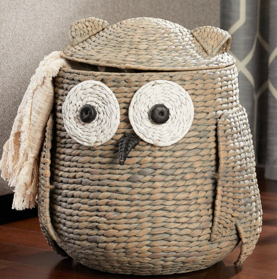Unique Owl Shape Decorative Hyacinth Basket With Lid
