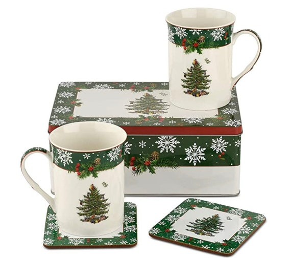 Pimpernel Spode Christmas Tree 5 Piece Mug Coaster Tin Gift Box Set- Selling Fast!