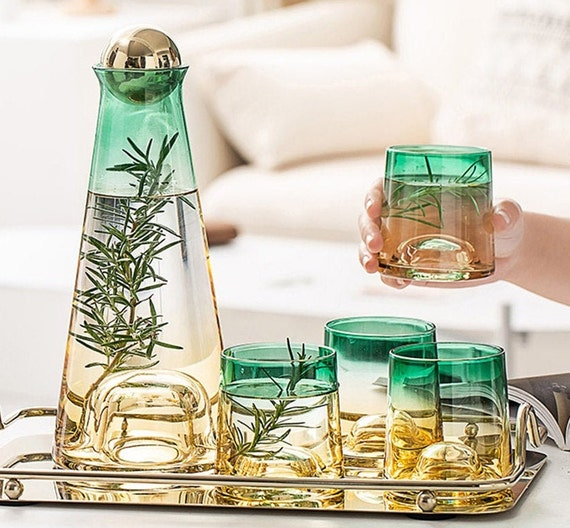 Amber Green Gradient Glass Beverage Pitcher Carafes Cups And Tray 6 Piece Set