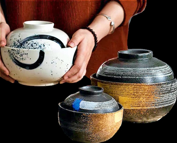 Japanese Style Creative Ceramic Bowls With Lids - Delivery 15-30 Days