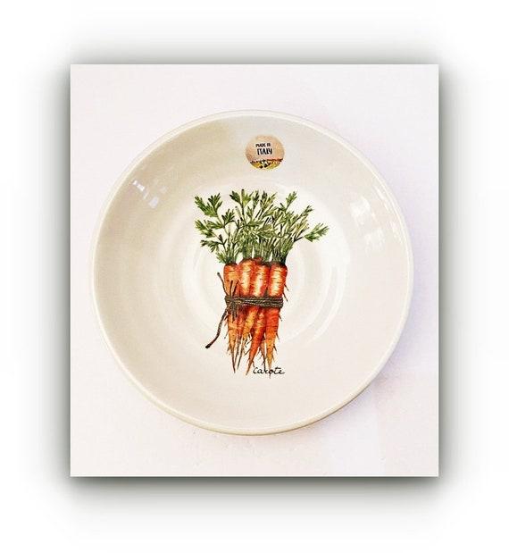 "9"" Round 1.5"" Deep Carrots Asparagus Motif Effetti d'Arte Handmade Ceramic Bowl"