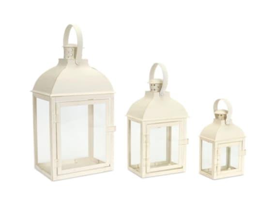 "Set Of 3 Beige Lantern W 7.5"" D 5.5"" H 14.25"" Melrose International"