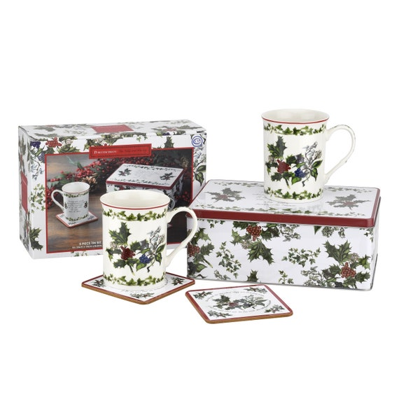 Portmeirion The Holly Ivy Design 5 Piece Mugs In Tin Set- Giftware Selling Fast!20%OFF