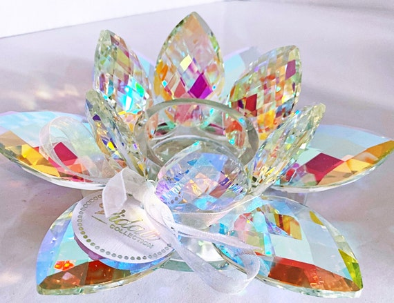 "6"" Round Crystal Lotus Prism Effect Tea Light Holder"