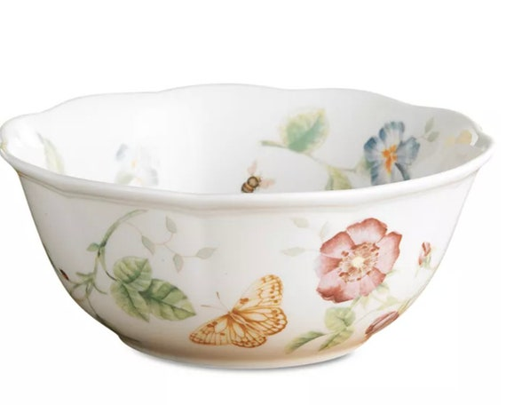 """LENOX 3 Butterfly Meadow Bowls 6.5"""" (2 bowls) 7""""(1 bowl)"""