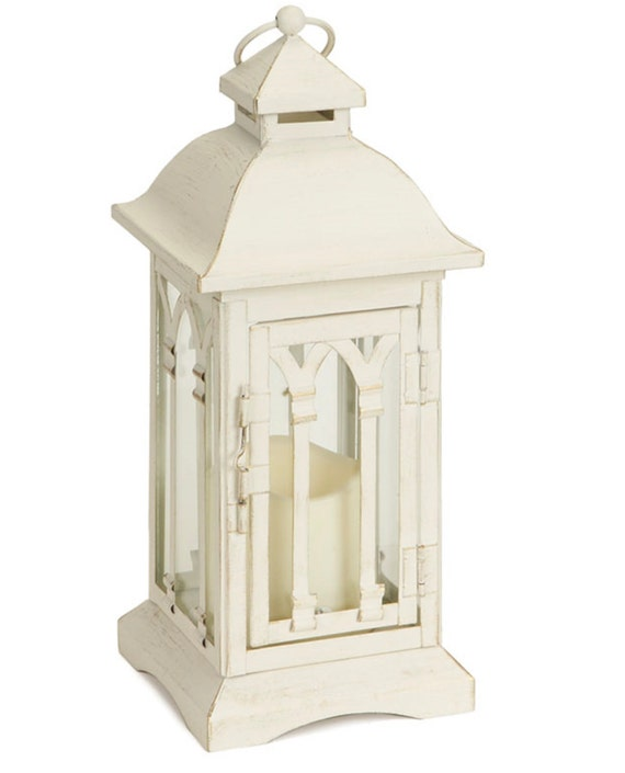 """Lantern 3""""X3"""" Wide Led Candle Set Of 2- Antique White Pair  12.25""""High"""