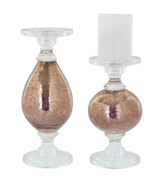 """Melrose International Glass Candle Holder Set Of 29.25"""", 11.5""""H"""
