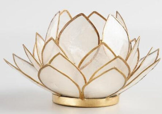 Clear Natural Capiz Shell  27 Petal Lotus Candle Holder