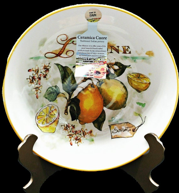 "Ceramica Cuore Limone 12"" Deep Round Serving Bowl- Italy"