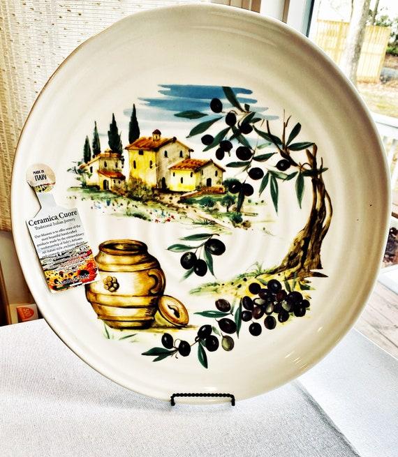 "Ceramica Cuore Limone 15"" Round 2"" Deep Serving Platter- Italy"