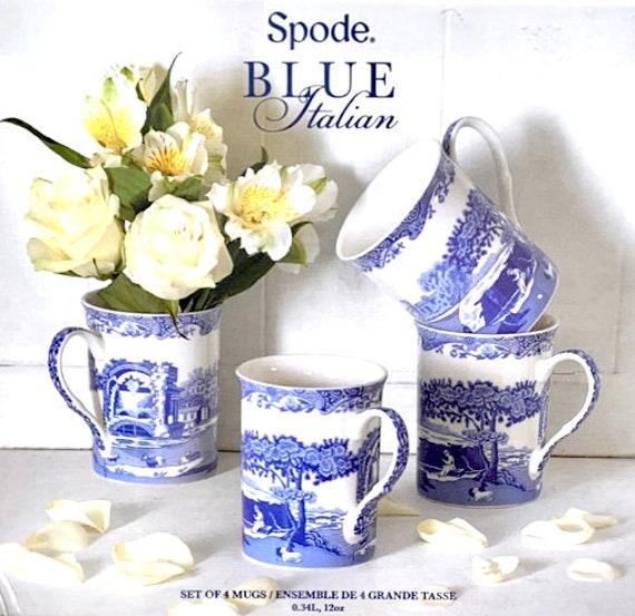 Set Of 4 Classic Spode Blue Italian 12 oz Mugs