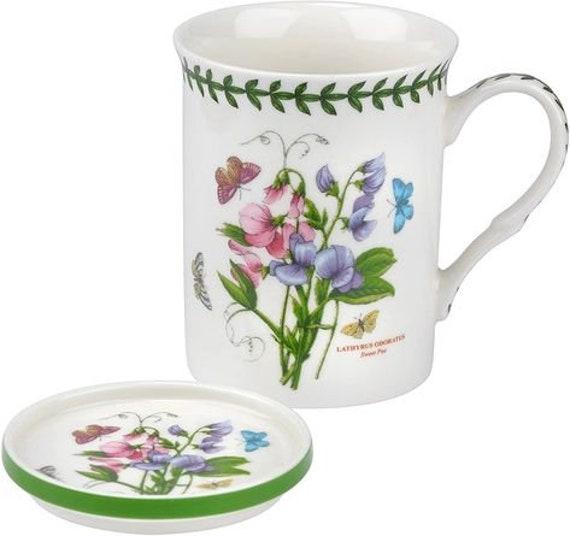 2 Piece Mug & Coaster Purple Sweet Pea  Gift Set Botanic Garden