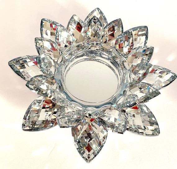 "9"" Inch Sparkle Silver Round Crystal Lotus Votive Holder"