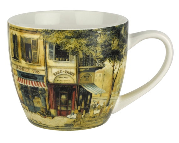 Collectable Parisian Scene Design 16 oz 2 Mug Set Pimpernel