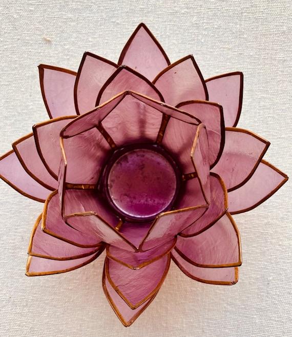 "Handcrafted 27 Petal Lotus Capiz Tea light 5"" Candle Holder"