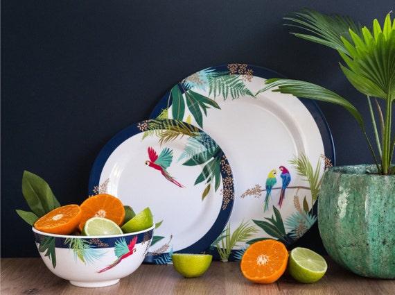 Set For 4 Sara Miller Parrot Collection Melamine 12 Pieces