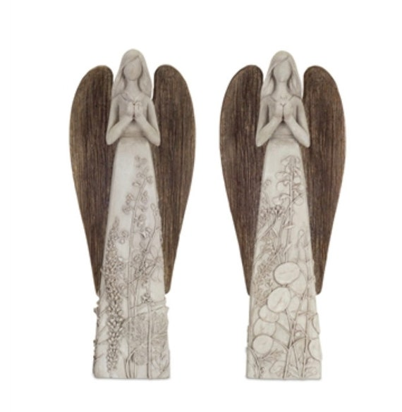"Melrose Angels Set Of 2  14"" Tall  Polyresin Metal Brown - Holiday Decor'"