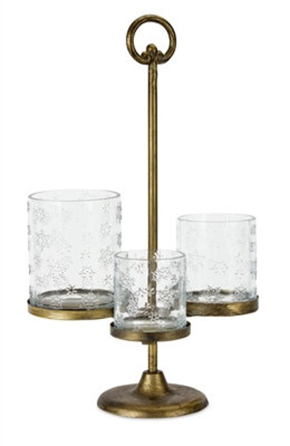 """Melrose Dull Gold Christmas Candle Holder Set Of 2 W/2.5"""", 3"""" And 3.5"""" Candle Cups 16.5""""H Iron"""