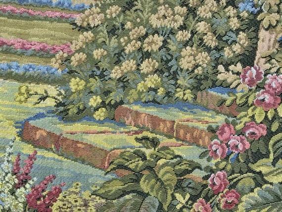 """Vintage Scenic Woven English Wall Tapestry 48"""" Wide. Ships In 24Hrs."""