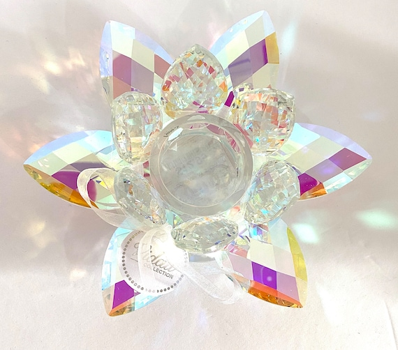 "Sparkling Crystal Lotus Votive Holder 6"" In 3 Colors - Smoke Prism Clear"