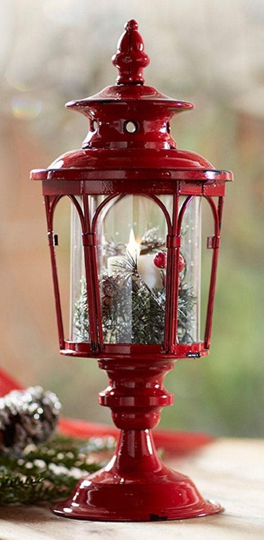 """Melrose Pedestal Lantern Set Of Two In Red 17""""H (Low Stock)"""