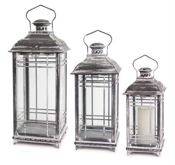 "Set Of 3 Weathered Grey Silver Lantern 14""H, 17""H, 20""H - Melrose International"