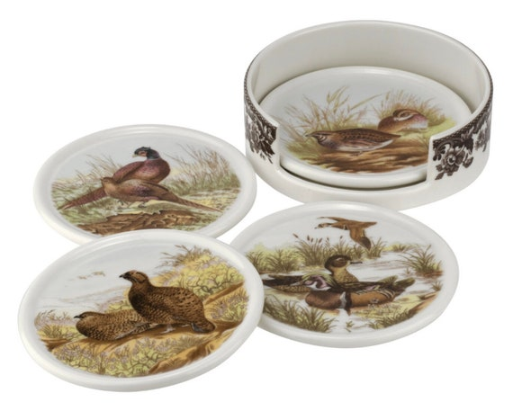 4 Piece Woodland Ceramic Coasters With Holder By Spode