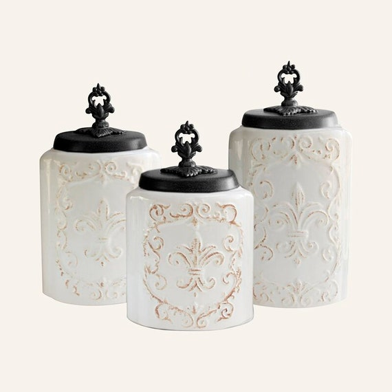 Stoneware White Fleur-de-lis 3 Piece Kitchen Canister Set
