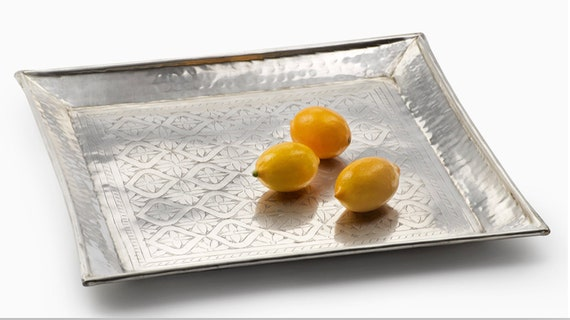 Square 16in Antique Silver Tray For Any Time