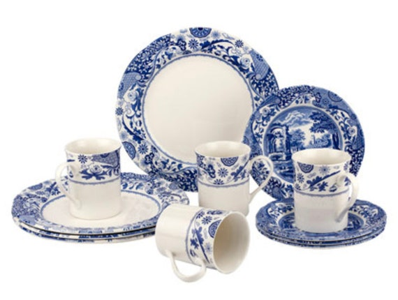 12 Piece Blue Italian Brocato Dinner Set And Collection By Spode