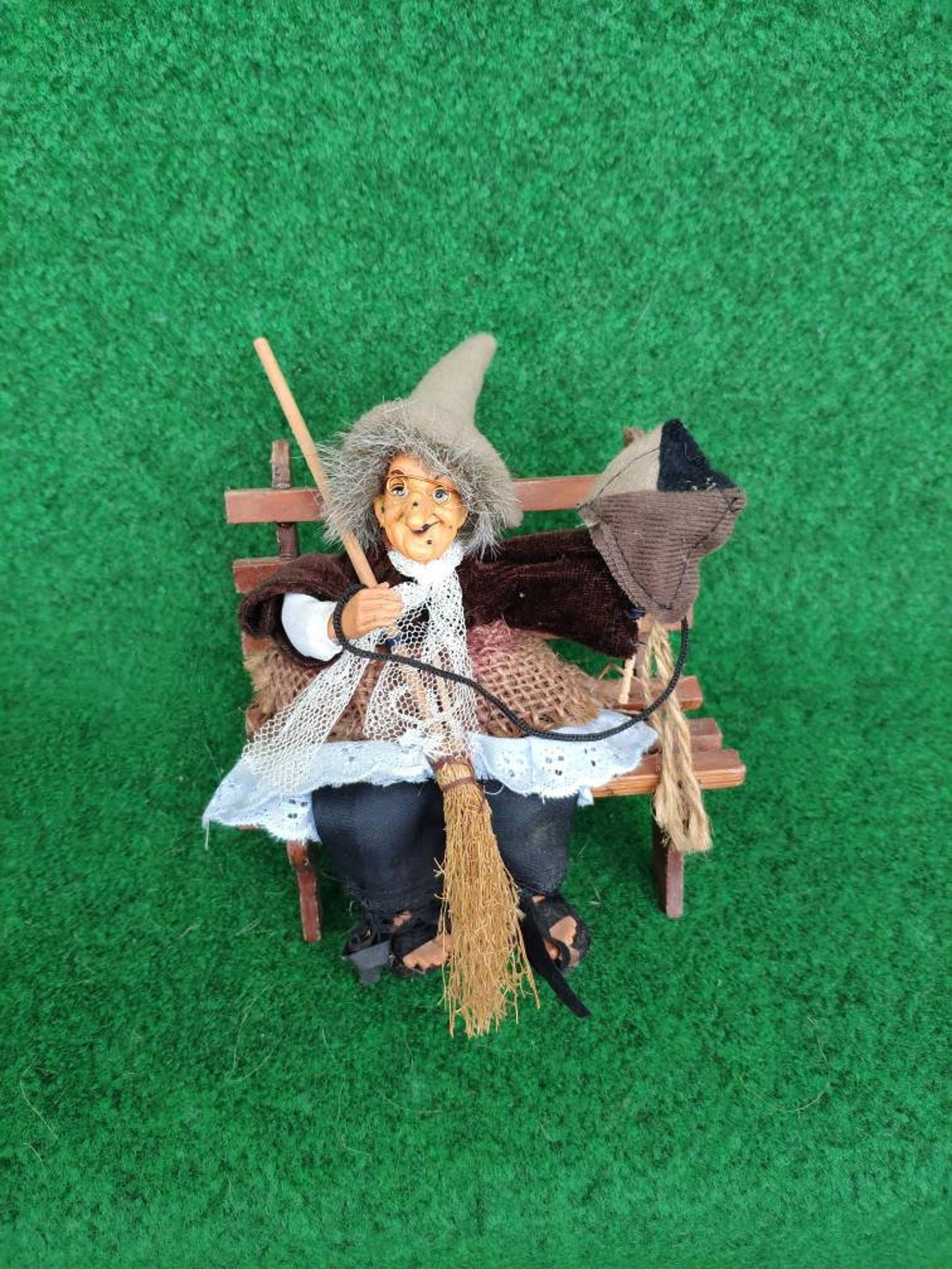German Good luck Kitchen Witch doll on the bench Fairy Witch Figurine Retro Home decor Vintage witch doll