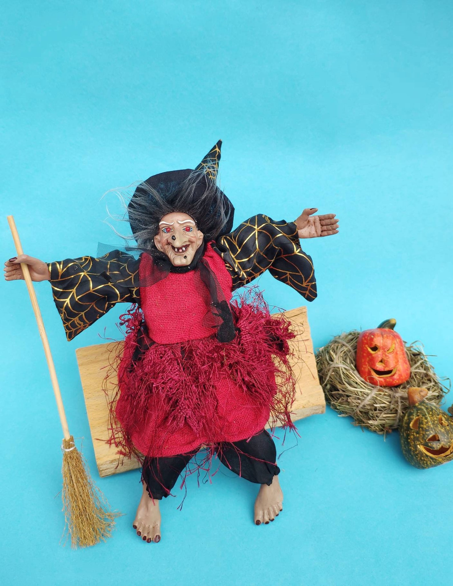 Vintage German Good luck Kitchen Witch doll for hanging with light and sound