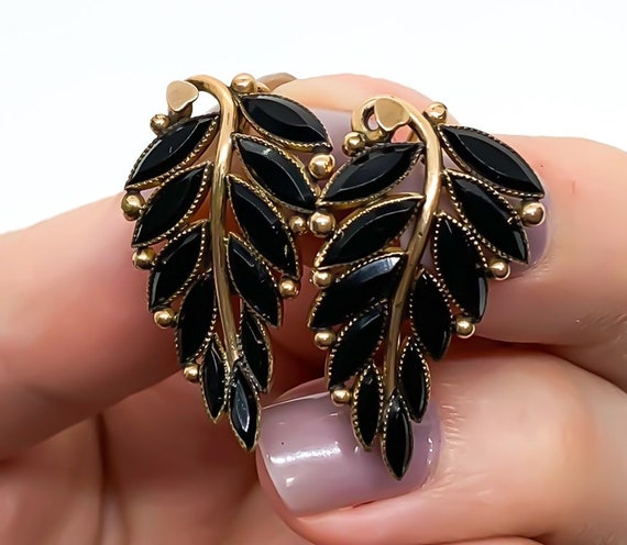 Antique Victorian 8k Yellow Gold Jet Black Glass … - image 1