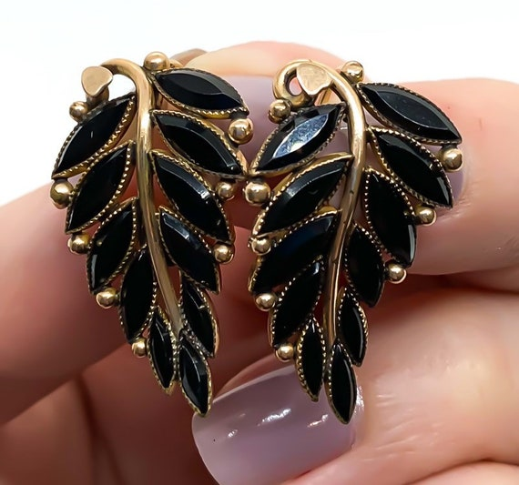 Antique Victorian 8k Yellow Gold Jet Black Glass … - image 2