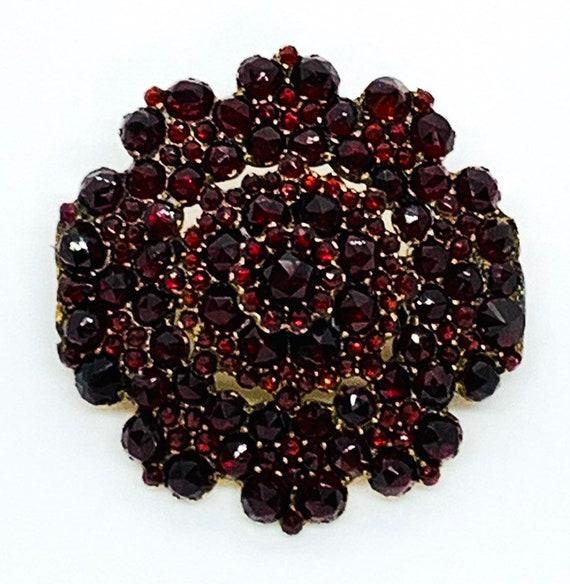 Antique Victorian Bohemian Garnet Floral Cluster 8