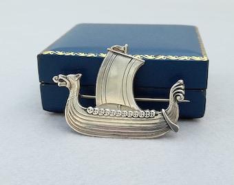 Vintage Norwegian 830 Silver Viking Long Boat, Ship Brooch (Kristian Hestenes)