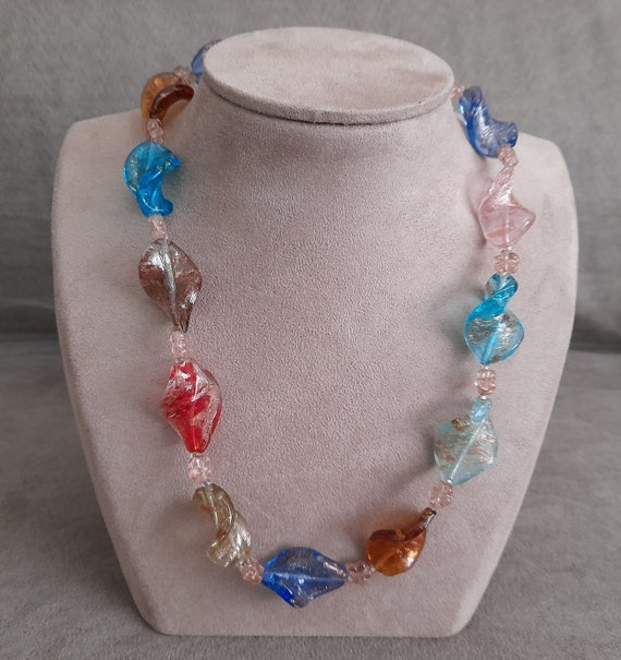 lovely long heavy multi coloured polished stone necklace on a dark brown ribbon 36 inches long