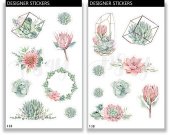 Succulent Stickers, Cactus Stickers, Decorative Stickers, Watercolor Stickers, Planner Sticker Set, Bullet Journal, Bujo Sticker 138