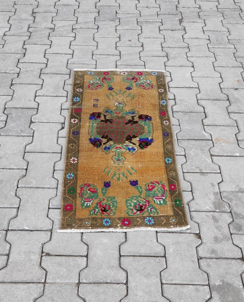 Size; 1.6\u00d73.4ft. Wool Natural Vintage Rug Bohemian Anatolian Hand-Made Mini Turkish Rug Free Shipping Small Oushak Rug Kilim