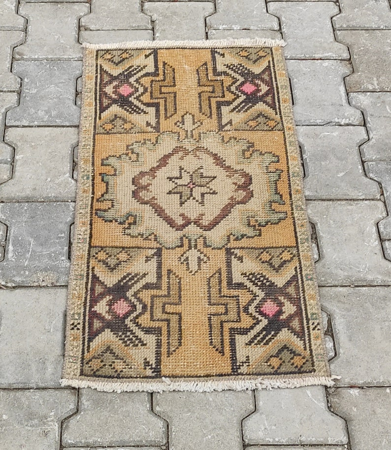 Anatolian Free Shipping Natural Hand-Made Bohemian Vintage Rug Size; 1.4\u00d72.8ft. Mini Turkish Rug Small Oushak Rug Wool Kilim