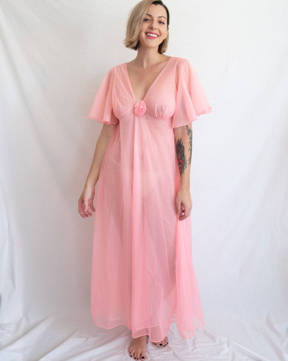 50s/60s VINTAGE Sheer Neon Pink Nightgown