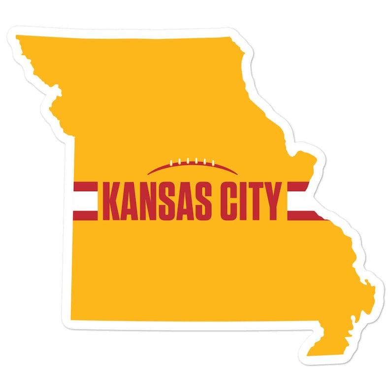 Kansas City Football Missouri Outline Sticker Yellow Design